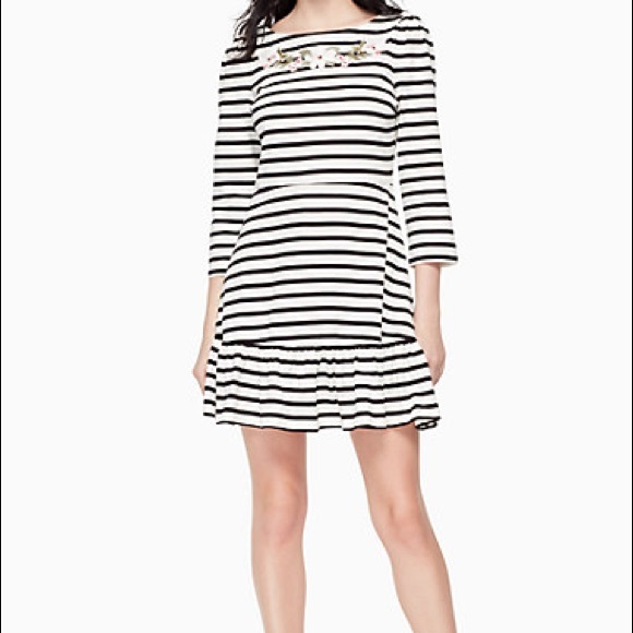 kate spade Stripe Embroidered Fit & Flare Dress